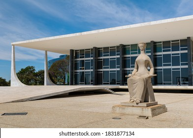 Supreme Federal Court, Brasilia, DF, Brazil on August 14, 2008. Statue of Justice.