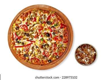 Supreme pizza on wooden plate or board with cola isolated on white background. From top view