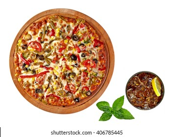 Supreme Pizza on wooden plate or board with cola or coke isolated on white background