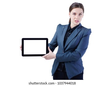 Suprised businesswoman looking at the tablet with blank screen. Isolated on white.