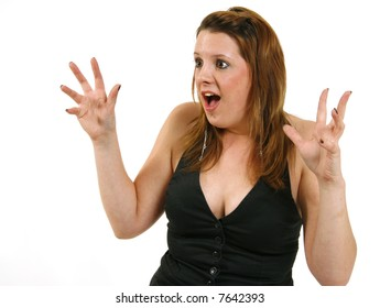Suprised girl (eyes and mouth wide open and hands in the air)