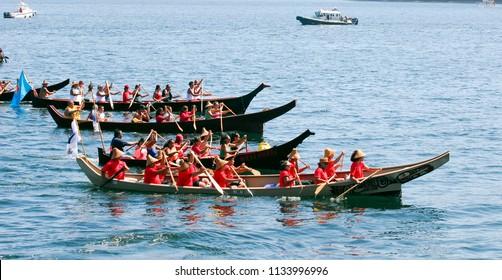 Suquamish, Washington / USA - Aug. 3, 2009: Northwest first nations taking part in the 2009 Tribal Canoe Journey to Suquamish, Washington, on Aug. 3, 2009.