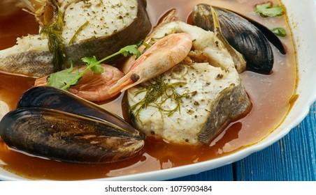 Suquet de peix - French fish soup, close up