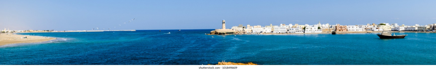 Sur, Ash Sharqiyah / Sultanate of Oman - Feb 2 2018: Panoramic view over the port of Sur, capital city of Ash Sharqiyah Region, northeastern Oman, on the coast of the Gulf of Oman.