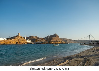 Sur, Oman - Dec 1, 2018: Al Ayjah Bridge and Al Ayjah Watch Tower