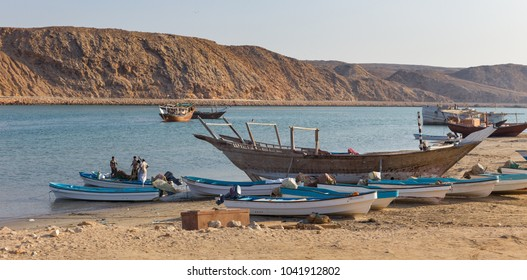 SUR, OMAN - NOVEMBER 25, 2017: Traditional fishing boats  in the bay of Sur, in Oman.
