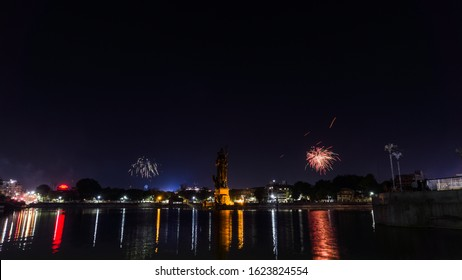 Sur Sagar lake also known as the Chand Talao is a lake situated in middle of the city of Vadodara. Sursagar lake at night with firworks.
