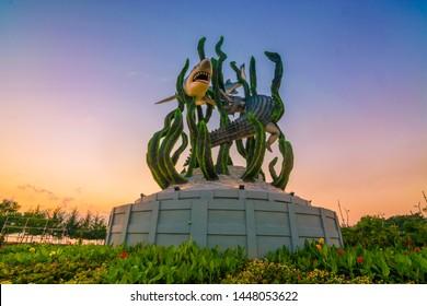 surabaya, 11 july 2019. the biggest shark and crocodile statue in the city of Surabaya, sharks and crocodiles are symbols of the city of Surabaya, east java, indonesia.