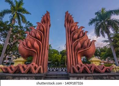 surabaya, 28 may 2019, heroes monument, surabaya, east java, indonesia