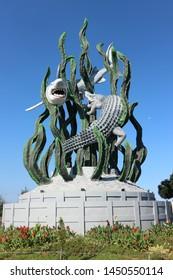 Surabaya City's Landmark. This Landmark gives the city symbol's name, that is Shark and Crocodile.