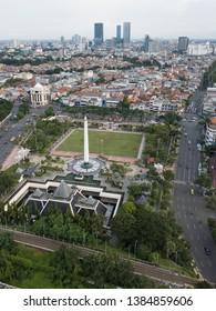 Surabaya CItyscape View With Tugu Pahlawan Monument