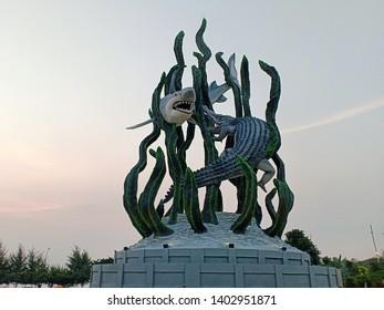 surabaya, east java, indonesia, 21 may 2019, the biggest shark and crocodile statue in the city of Surabaya