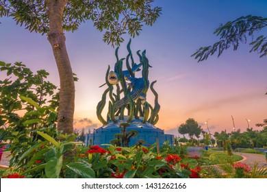 surabaya, east java, indonesia, 23 june 2019. surabaya statue is symbol city of surabaya, east java, indonesia