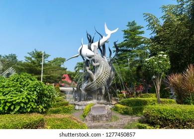 Surabaya, East Java, Indonesia - April 30, 2017: Garden with statues symbol of the city of Surabaya