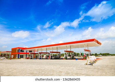 Surabaya, East Java / Indonesia - Jan 20th, 2019: Gas Station at Rest Area 726B Trans Java Surabaya - Mojokerto Toll Road