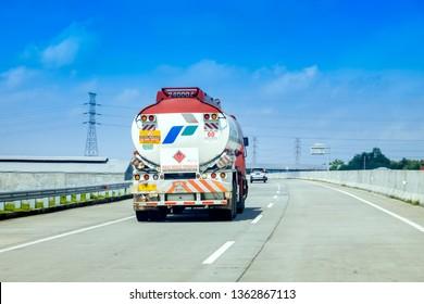 Surabaya, East Java / Indonesia - Jan 20th, 2019: Pertamina Trailer Truck at Trans Java Surabaya - Mojokerto Toll Road