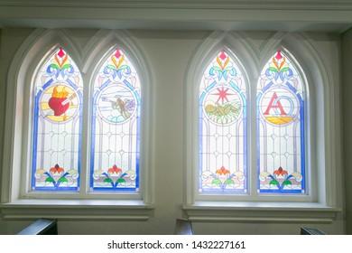 Surabaya, East Java / Indonesia - June 23 2019: stained glass art work at catholic church