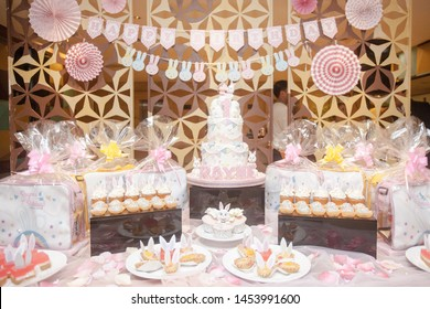 Surabaya, East Java / Indonesia - March 17 2019: Birthday hampers Setup Idea, Cake and Pastry