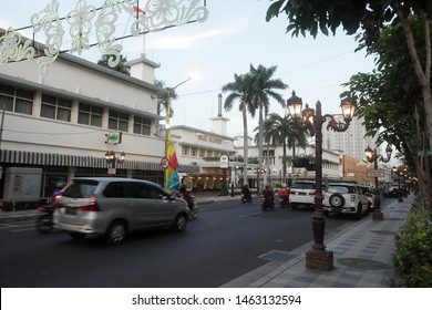 Surabaya, East Java / Indonesia - May 14 2019: Tunjungan Street View of Surabaya