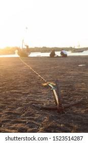 Surabaya, East Java / Indonesia - October 4 2019: Hand Made Boat Anchor
