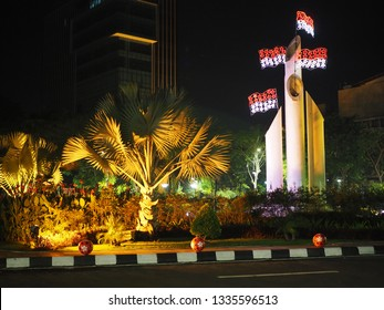 Surabaya, East Java/Indonesia - March 08 2019: Bambu Runcing Monument (monumen bambu runcing) symbolize traditional weapon called Bambu Runcing that Indonesia heroes use to fight against colonizer