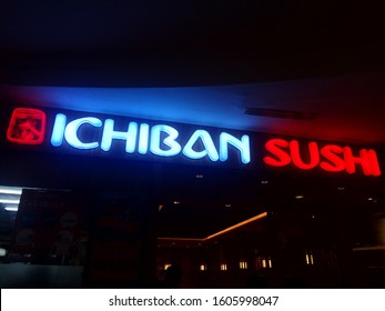 Surabaya, Indonesia - 1/1/2020 : View of Ichiban Sushi japanese food brand logo foodstore inside shopping mall