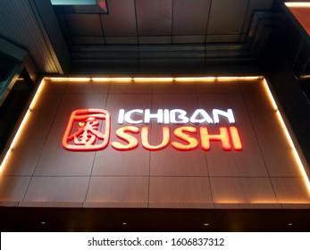 Surabaya, Indonesia - 31/12/2019 :  View of Ichiban Sushi japanese food brand logo foodstore inside shopping mall
