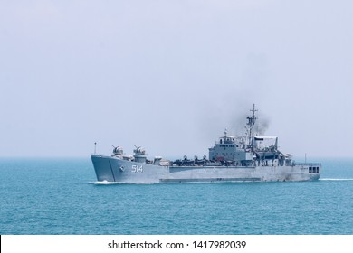 Surabaya, Indonesia - April 21th, 2019 :  The Indonesian Navy sail KRI TELUK MANDAR 514 Battleship in the middle of javanesse ocean, north Madura, Indonesia