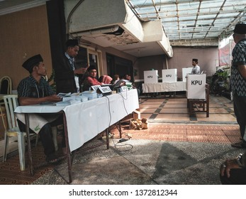 Surabaya, Indonesia - the atmosphere process of presidential elections or pemilu 2019 in Indonesia at one of TPS in Surabaya