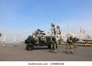 Surabaya, Indonesia, December 10th, 2017. The ellite unit frogman of Indonesian navy.