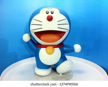 Surabaya, Indonesia - January 26th 2016: Doraemon Secret Gadgets Expo Event show doraemon doramee, nobita, model figurine and situation like the comic anime manga such as at house, background history