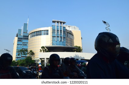 Surabaya, Indonesia - July 15, 2018: The Royal Plaza shopping center is viewed in front of the A Yani street highway in Surabaya, East Java, Indonesia