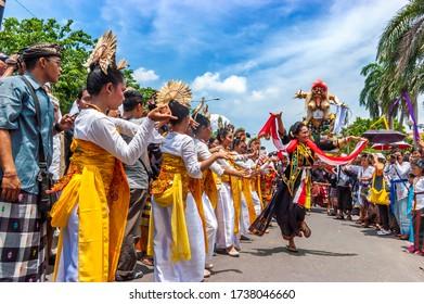 Surabaya / Indonesia - March 11, 2013: Dancers who accompanied the Ogoh-ogoh parade before Nyepi