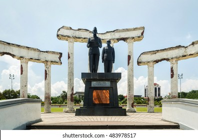 Surabaya, Indonesia - MARCH 25, 2016. Entry gate to National Monument in Surabaya, Heroes Day, East Java, Indonesia