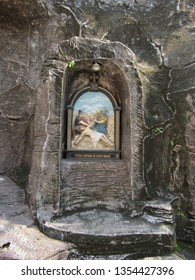 Surabaya, Indonesia - March 30th 2019: A Stations of the Cross or Via Crucis or via dolorosa or Way of Sorrows at Catholic Church Santa Perawan Maria, the oldest curch in Surabaya