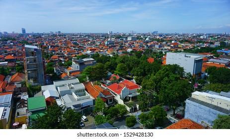 Surabaya, Indonesia - May 25, 2018: Aerial view of houses and building in Surabaya City