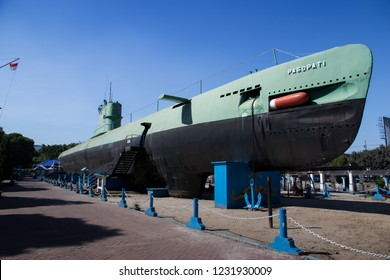 Surabaya, Indonesia - May 30 2017: The Surabaya Submarine Monument is the largest submarine monument in Asia that was built to reflect Indonesia as a maritime country and appreciate the heroes