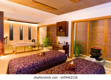 Surabaya / Indonesia - May 8, 2010: Interior of modern massage room in warm light