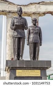 Surabaya, Indonesia - November, 04, 2017:  Statue of Soekarno Hatta as part of the National Monument in Surabaya, Heroes Day, East Java, Indonesia