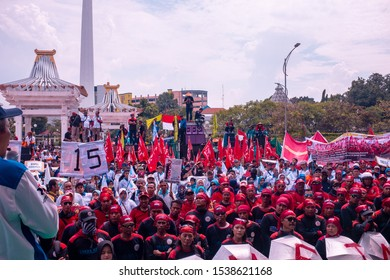 SURABAYA, INDONESIA - SEPTEMBER 19, 2019: Thousands of protesters marched against a controversial KPK bill. Portrait of protesters.