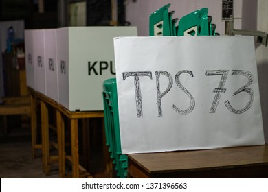 Surabaya,Indonesia - April 16,2019: Tonight final Preperation, voting booth was look ready for Indonesian Election day tommorow.