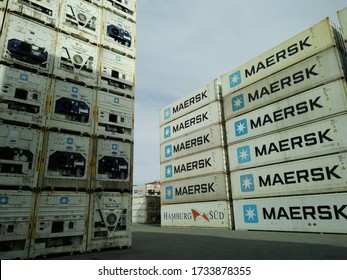 Surabaya-Indonesia May 14th,2020, a blurry image of Reefer containers are stacking at depot area (focus selection)