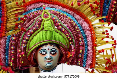 Surajkund, India - February 13, 2017: Displaying attractive mask of god and goddess; dancers wear masks, bright costumes and dance on particular occasion.
