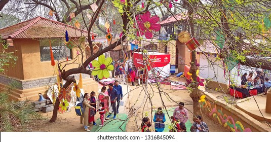 Surajkund, India - February 14, 2019:  Visitors and local people are enjoying and shopping in Surajkund public craft fair in Surajkund, Faridabad, India.