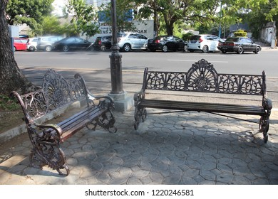 Surakarta 23 Oct 2018 - Government is placing a metal bench in a street to let visitor sit and rilex after having a sightseeing around the city during holiday