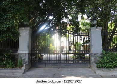 Surakarta 23 Oct 2018 - The house owner is placing a big and classic gate made from steel to give protection and secure since couple years ago