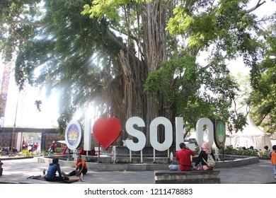 Surakarta 23 Oct 2018 - Local people are visiting Sriwedari Park where the signage of I Love Solo located during morning day, they love to taking picture in this city landmark