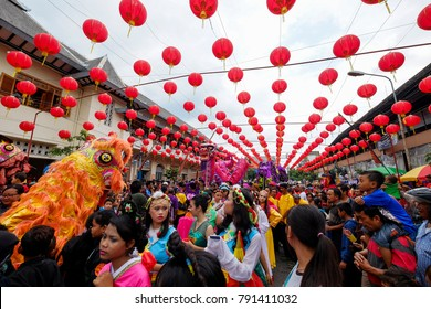 Surakarta, Central Java, Indonesia - 22th January 2017 : The festivity of grebeg sudiro tradition event in welcoming chinese new year in gedhe market of surakarta.