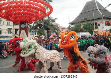 Surakarta, Central Java, Indonesia - February 3rd 2019 : Some barongsai were become the center of attention of the visitors in grebeg sudiro