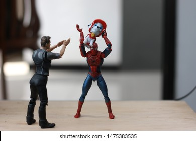 SURAKARTA, INDONESIA - 10 AUGUST 2019: Iron Man. Spiderman Figure model in 2019 style. Japanese toy manufacturer. A marvel drama. between an amazing iron man and spiderman. Help one another uplifting